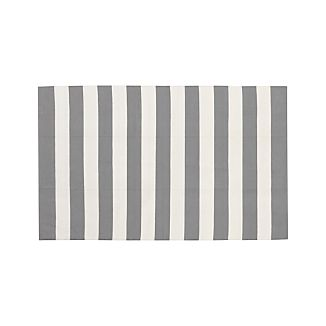 Olin Grey Striped Cotton Dhurrie 5'x8' Rug