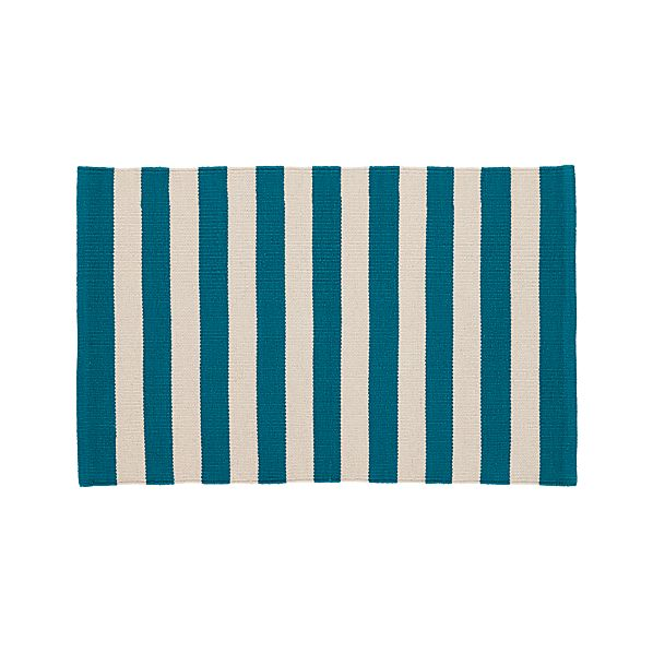 Olin Teal Blue Striped Cotton 2'x3' Rug