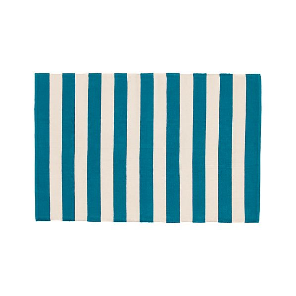 Olin Teal Blue Striped Cotton 4'x6' Rug
