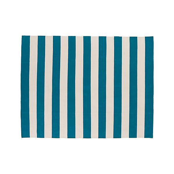 Olin Teal Blue Striped Cotton 8'x10' Rug