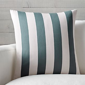 "Olin Ivory-Slate Grey Striped 20"" Pillow with Feather-Down Insert"