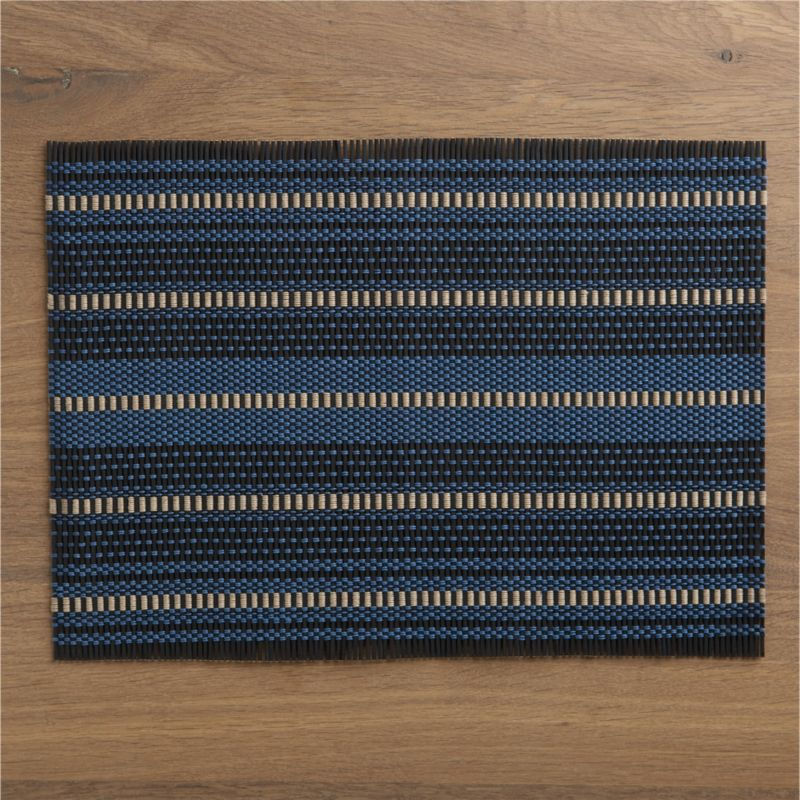 Rustic weave of bamboo fashions blue and taupe stripes in bold geometrics with an ethnic edge. Rolls up for space-saving storage.<br /><br /><NEWTAG/><ul><li>100% bamboo</li><li>Wipe clean with damp cloth</li></ul>