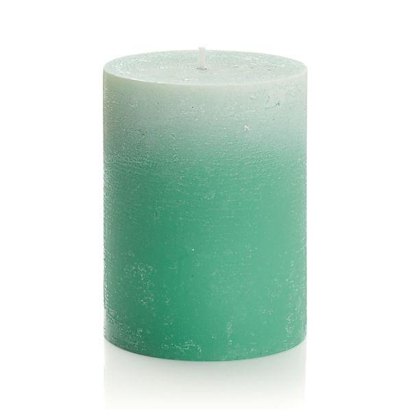 "Ombre Jade Green 3""x4"" Pillar Candle"