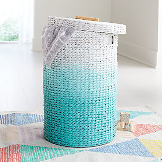 Round Ombre Light Blue Hamper with Liner