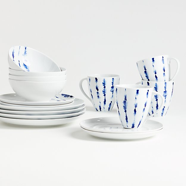 Omri 16-Piece Blue and White Dinnerware Set - Image 1 of 2