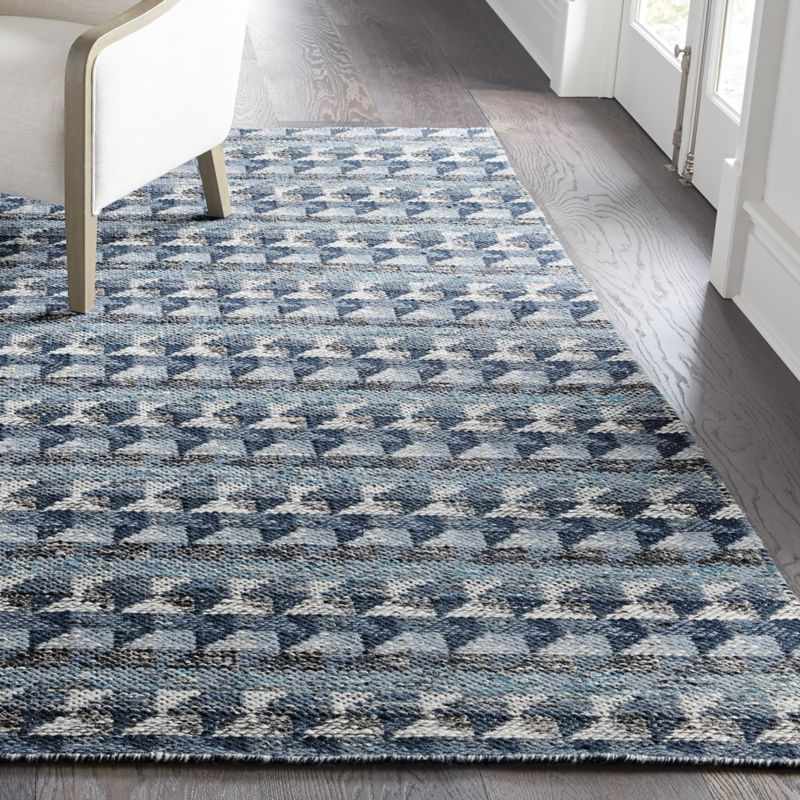 Onette Blue Dhurrie Rug Crate And Barrel