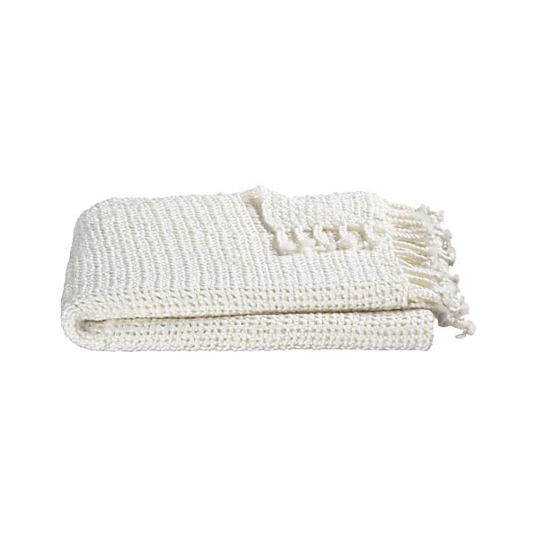 Open Weave Ivory Throw