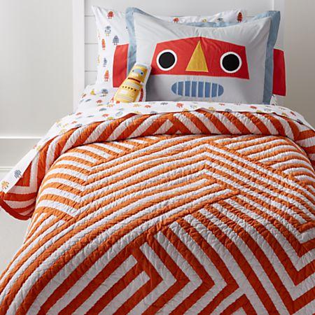 Orange and White Geometric Quilt