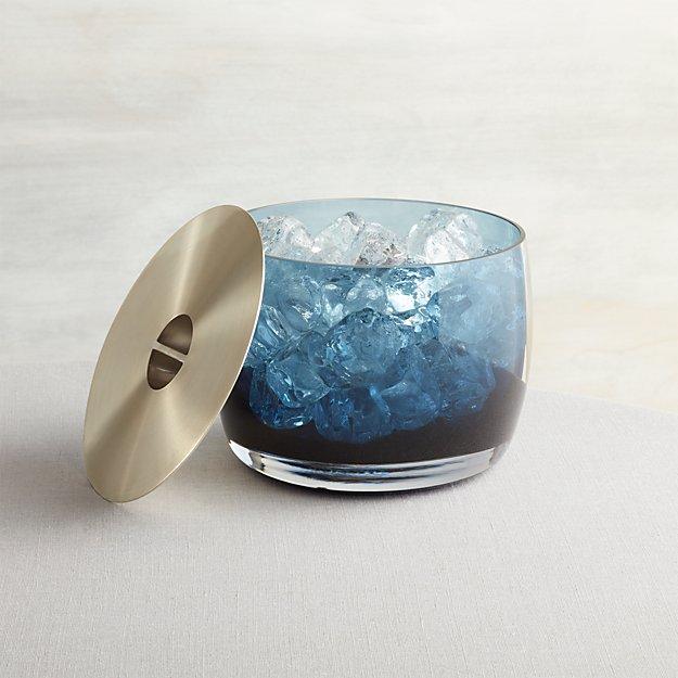 Orb Sapphire Blue Glass Ice Bucket