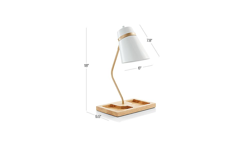 Tap To Zoom Image With Dimension For White Organizer Desk Lamp
