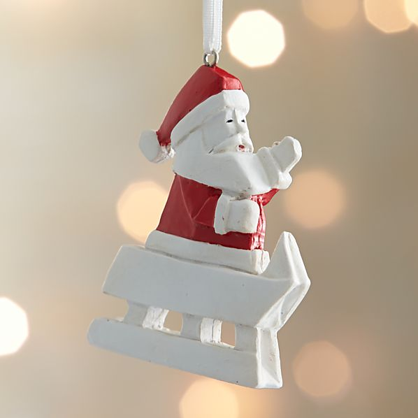Origami Santa Sledding Ornament