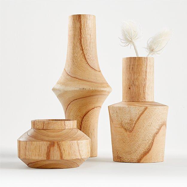 Orla Natural Wood Vases - Image 1 of 10