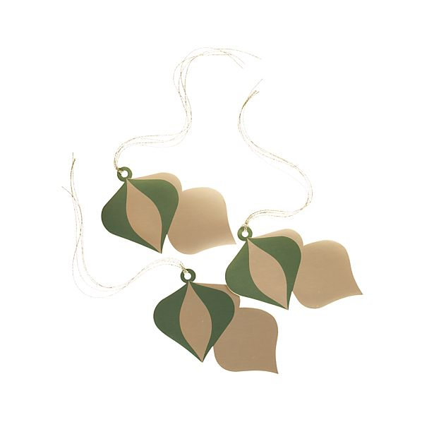 Set of 3 Green and Gold Ornament Gift Tags