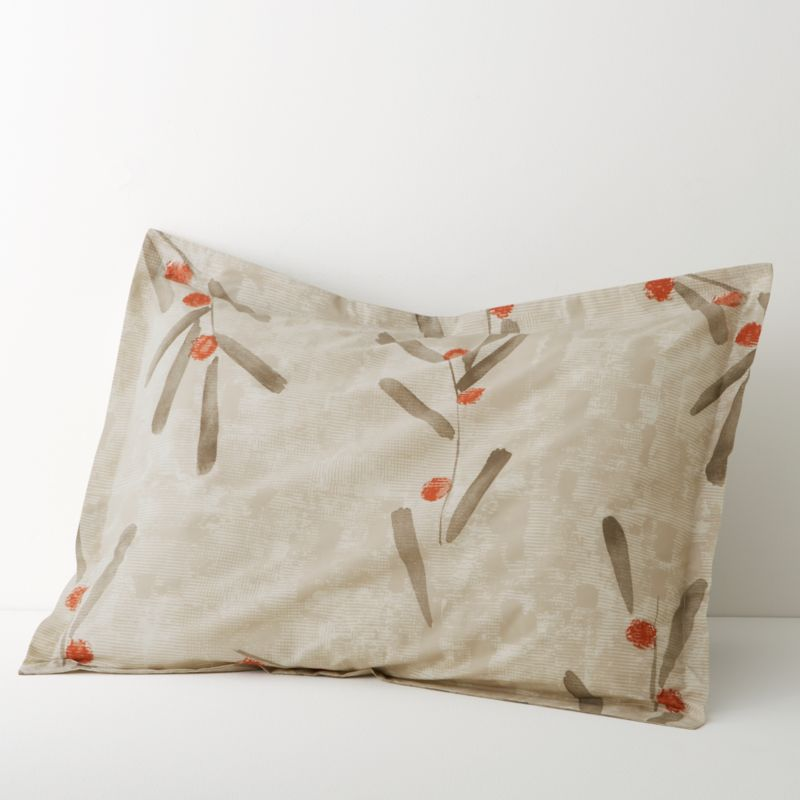 Center the bedroom in a Zen garden of neutral color and soft cotton percale. Deft brushstrokes sketch stems and leaves in earthy tones over a backdrop of modulated taupe, dotted with dabs of burnt orange berries. Pillow shams have generous overlapping back closure. Bed pillows also available.<br /><br /><NEWTAG/><ul><li>100% cotton percale</li><li>200-thread-count</li><li>Machine wash cold, tumble dry; warm iron as needed</li><li>Made in Portugal</li></ul>
