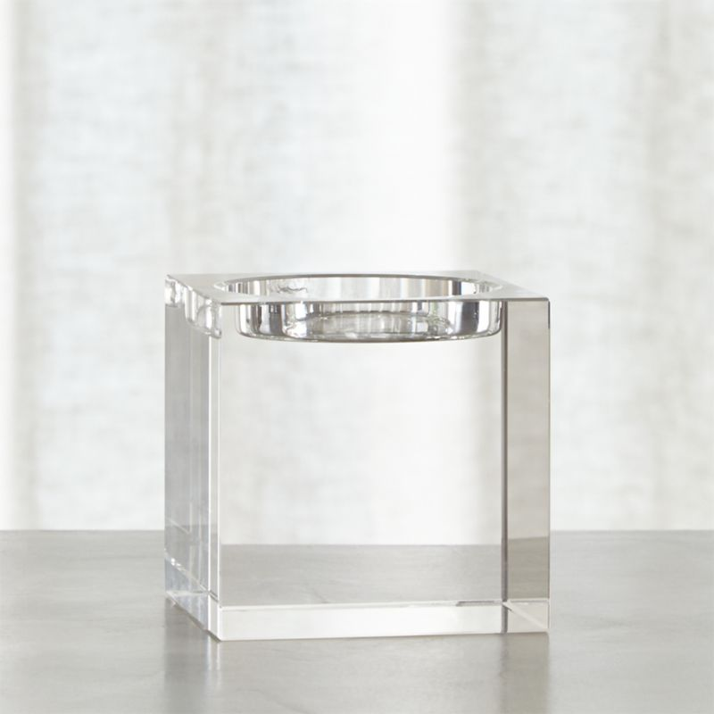 "Cubist candlelight in brilliant lead crystal with polished, beveled edges. Modern architectural candleholder stands strong alone or clusters beautifully.<br /><br /><NEWTAG/><ul><li>Lead crystal</li><li>Cut and polished edges</li><li>Pillar Holder accommodates a 3""-diameter pillar candle, sold separately</li><li>Clean with a damp cloth</li><li>Made in China</li></ul>"