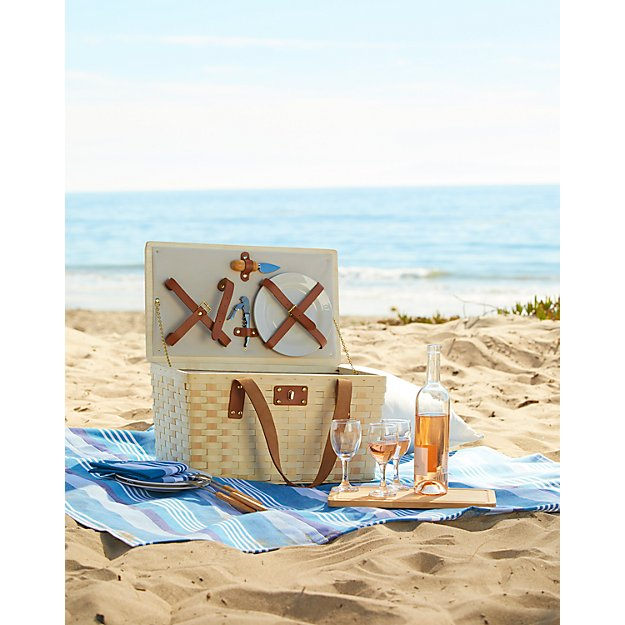 Outfitted Wooden Picnic Basket - Image 2 of 5