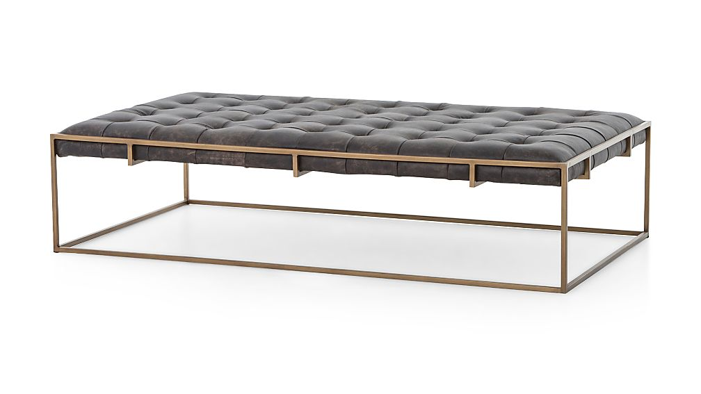Ottilie Leather Brass Ottoman - Image 1 of 5