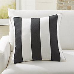 Sunbrella Cabana Stripe Black Outdoor Lumbar Pillow