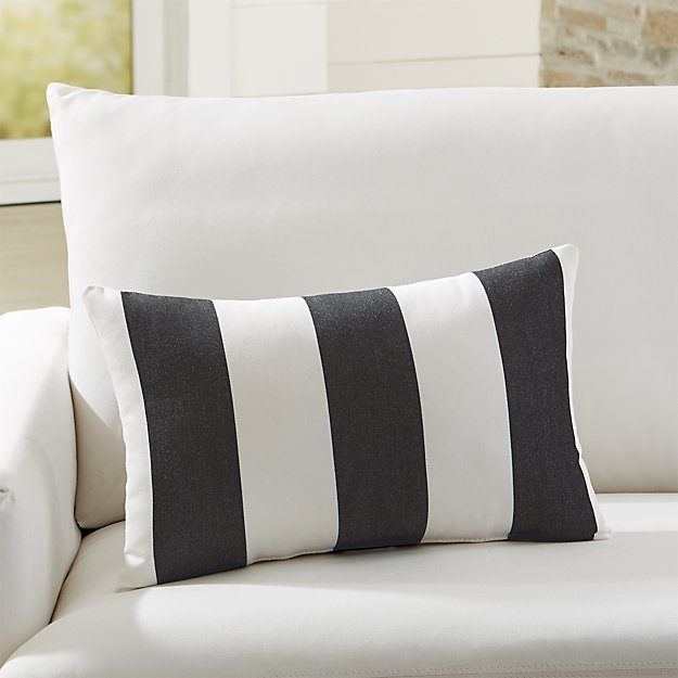 Sunbrella Cabana Stripe Black Outdoor Lumbar Pillow