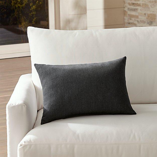 Sunbrella ® Charcoal Outdoor Lumbar Pillow - Image 1 of 8
