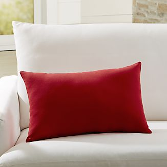 Sunbrella Canvas Jockey Red Outdoor Lumbar Pillow