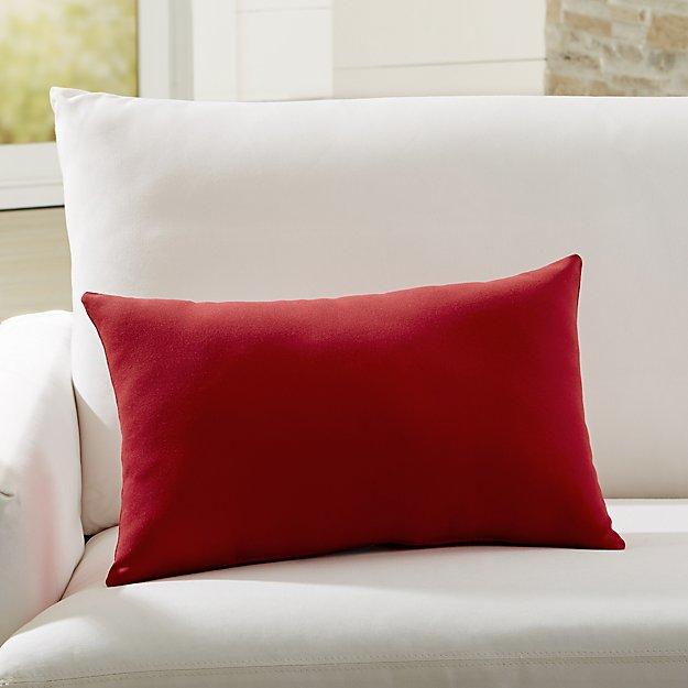 Sunbrella Canvas Jockey Red Outdoor Lumbar Pillow