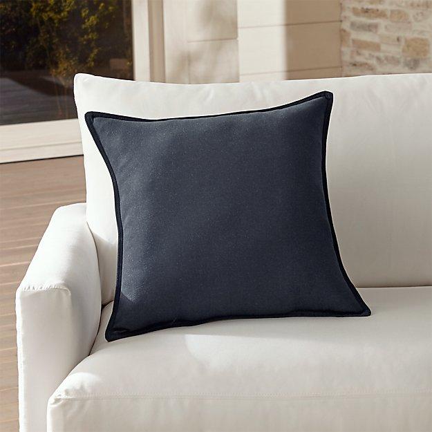 "Sunbrella ® Dark Navy 20"" Sq. Outdoor Pillow - Image 1 of 5"