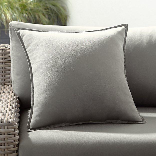 "Sunbrella ® Graphite 20"" Sq. Outdoor Pillow - Image 1 of 4"