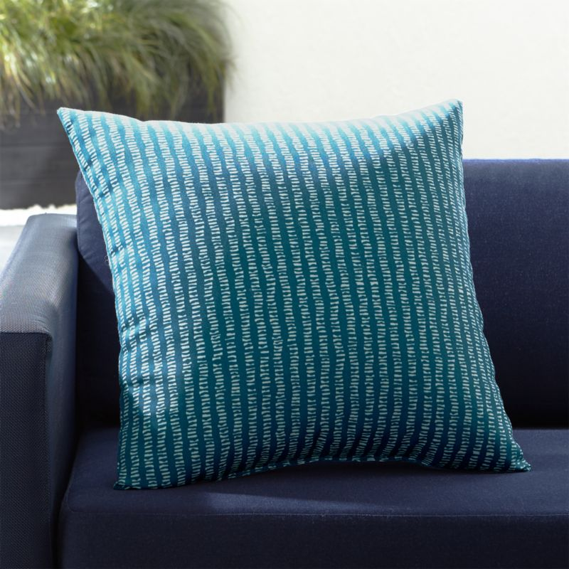 "Grit Grey Pinstripe 20"" Sq. Outdoor Pillow by Crate&Barrel"