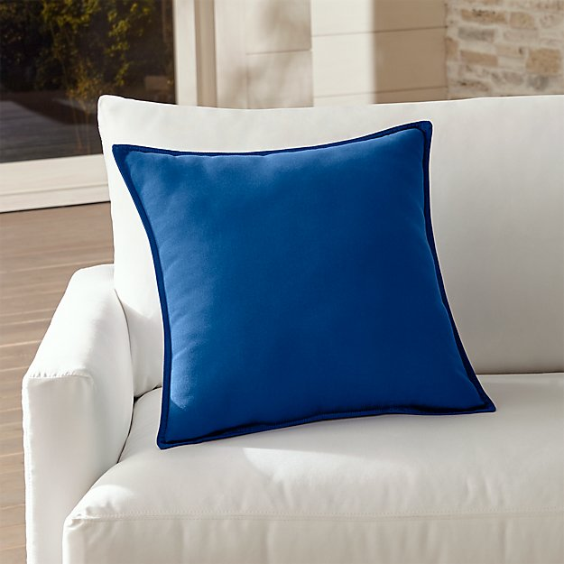 "Sunbrella ® Mediterranean Blue 20"" Sq. Outdoor Pillow"