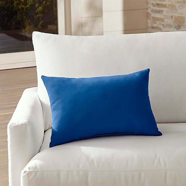 Sunbrella ® Mediterranean Blue Outdoor Lumbar Pillow