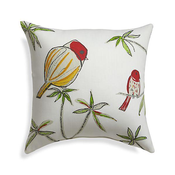 "Chubby Birds 20"" Sq. Outdoor Pillow"