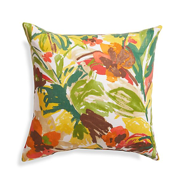 "Handpainted Floral 20"" Sq. Outdoor Pillow"