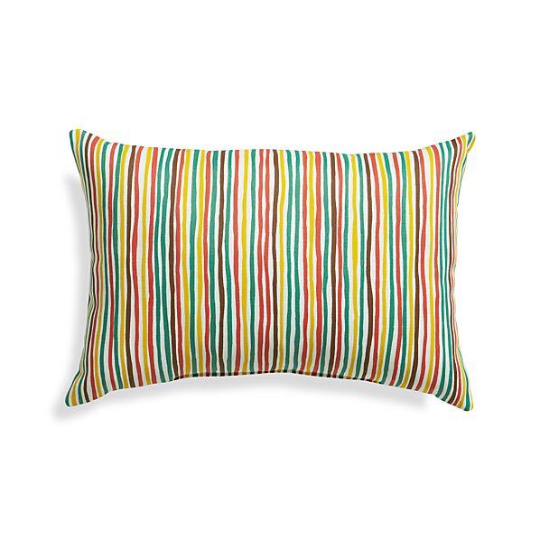 "Handpainted Stripe 20""x13"" Outdoor Pillow"