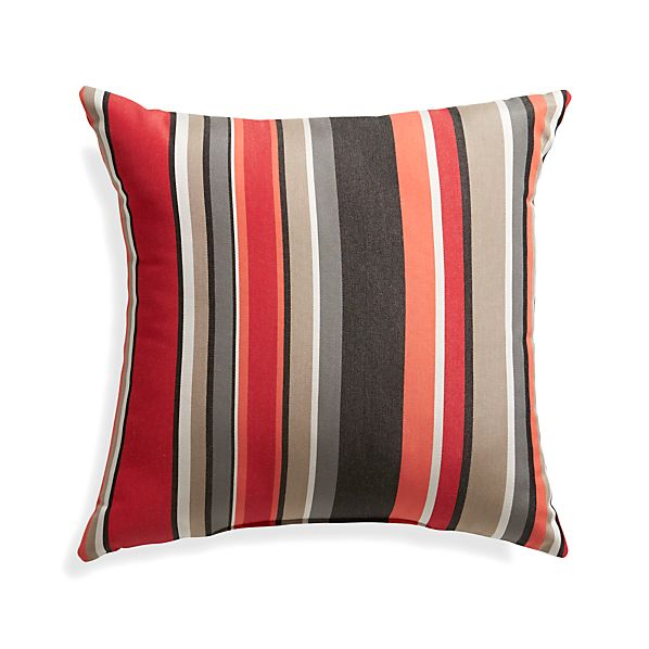 "Sunbrella ® Red Multi Stripe 20"" Sq. Outdoor Pillow"