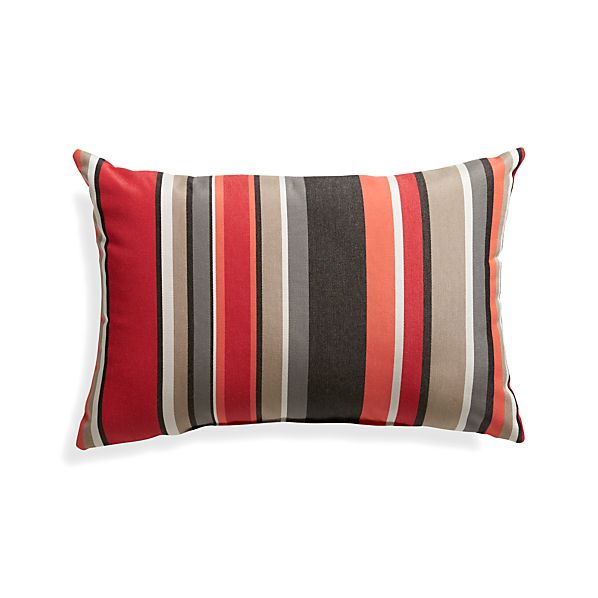 """Sunbrella ® Red Multi Stripe 20""""x13"""" Outdoor Pillow"""