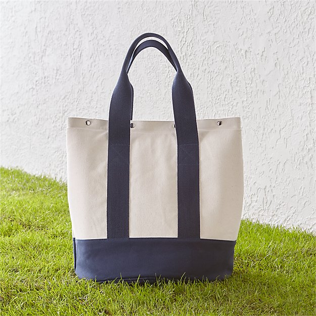 Outfitted Blue Canvas Picnic Tote - Image 1 of 4