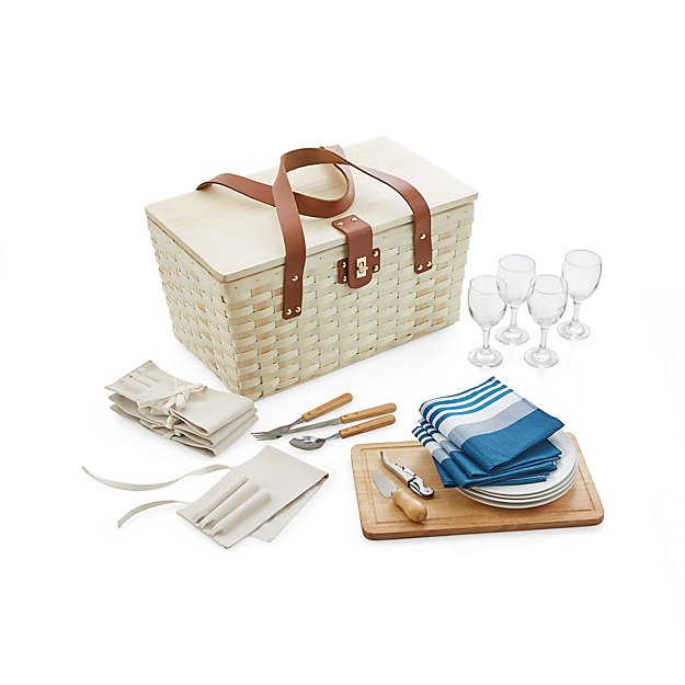 Wooden Picnic Basket Set : Outfitted wooden picnic basket crate and barrel