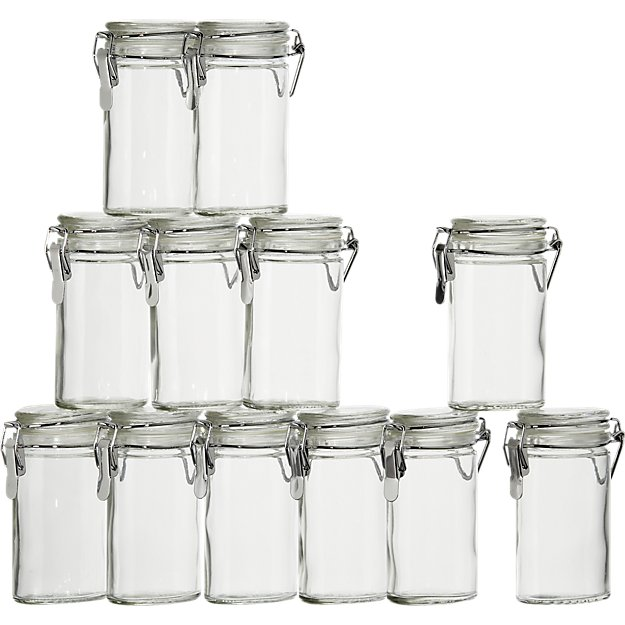 Mini Oval Spice Herb Jars With Clamp Set Of 12 + Reviews | Crate And Barrel
