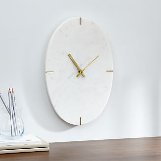 10 Oval White Marble Clock