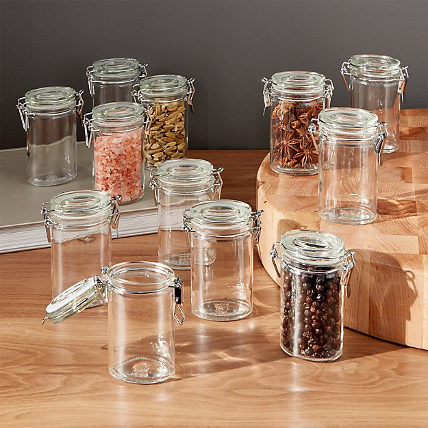 Mini Oval Spice-Herb Jars with Clamp Set of 12