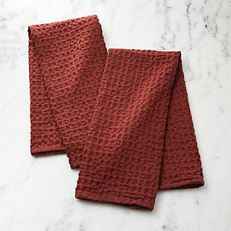 Oversized Waffle Henna Dish Towels, Set of 2