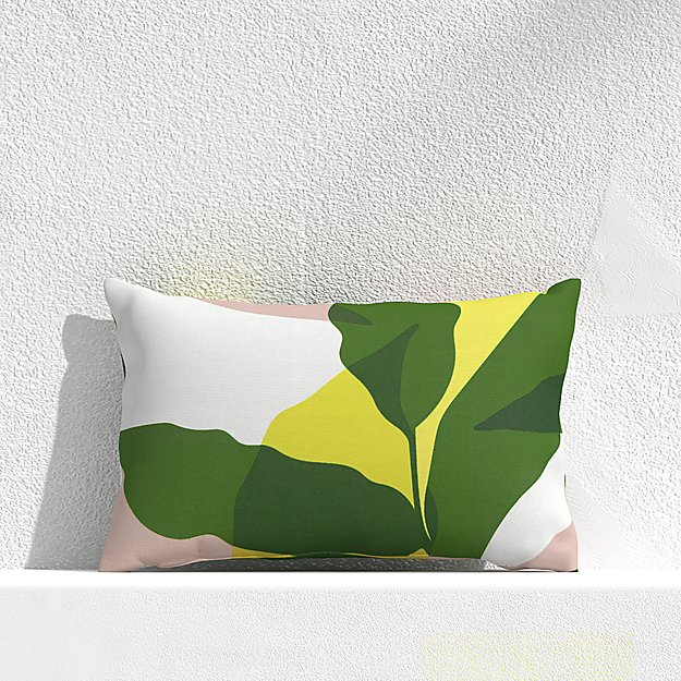 """Overlapping Leaf Cactus 20""""x13"""" Outdoor Pillow - Image 1 of 3"""