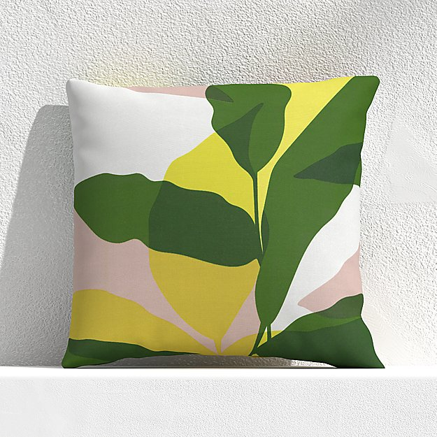 """Overlapping Leaf Cactus 20"""" Outdoor Pillow - Image 1 of 3"""