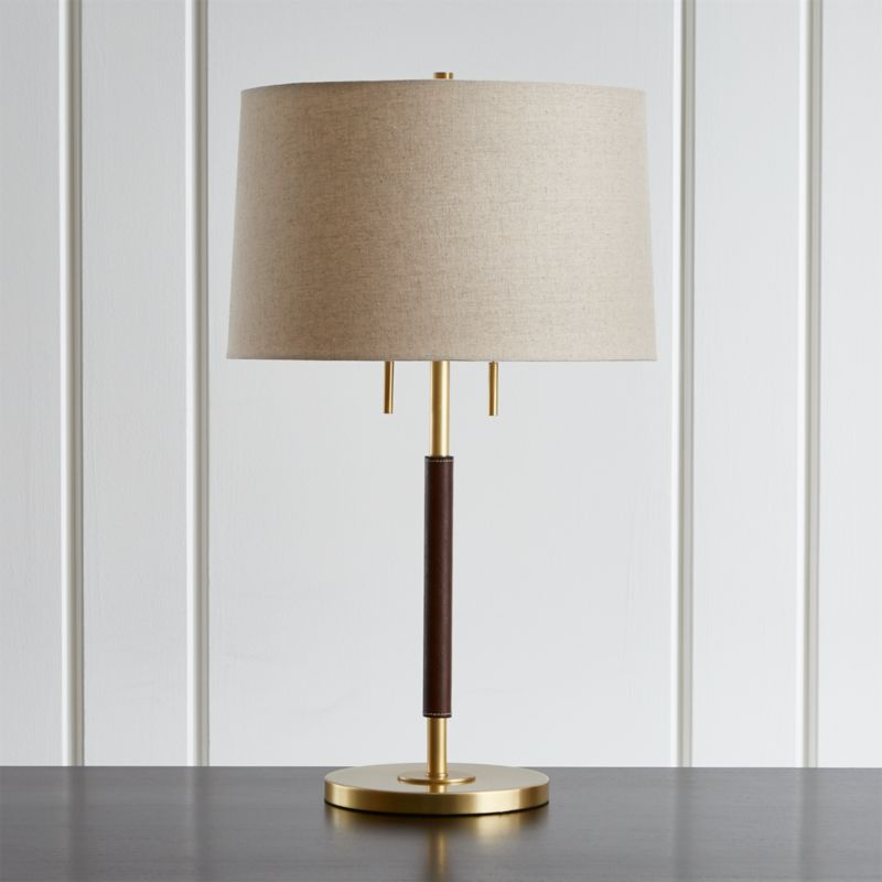 Table lamps for bedside and desk crate and barrel owen matte brass table lamp with brown leather aloadofball Gallery