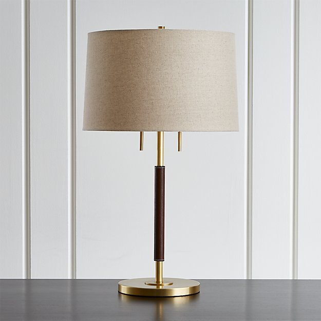 Owen Matte Brass Table Lamp With Brown Leather Crate And