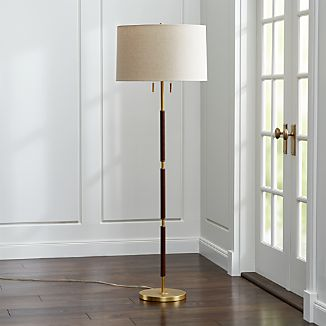Owen Matte Brass Floor Lamp with Brown Leather