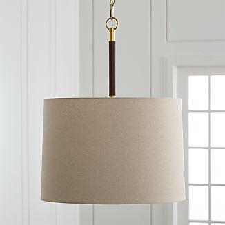 Owen Matte Brass/Brown Leather Pendant Light