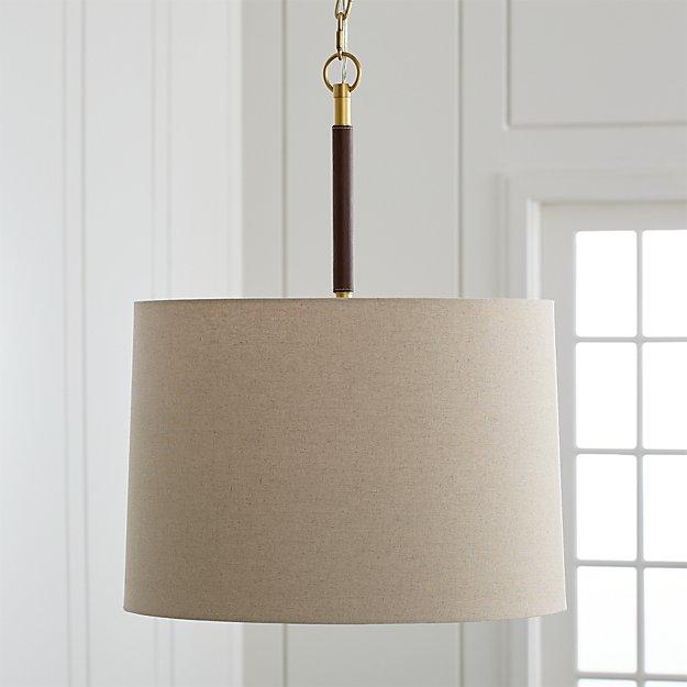Owen Matte Brass/Brown Leather Pendant Light - Image 1 of 6
