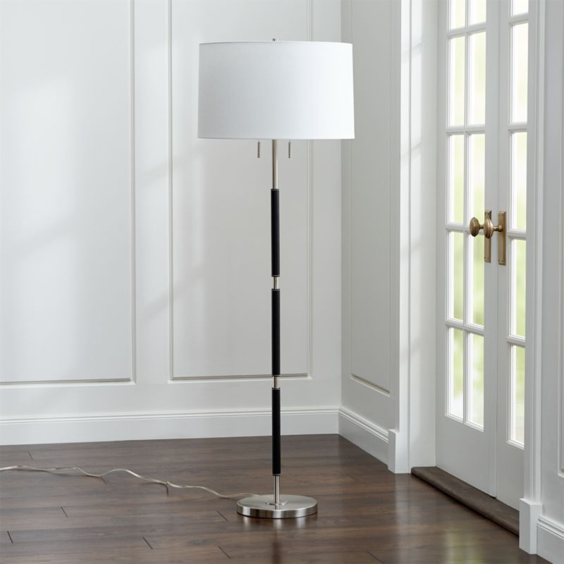 owen nickel floor lamp with black leather